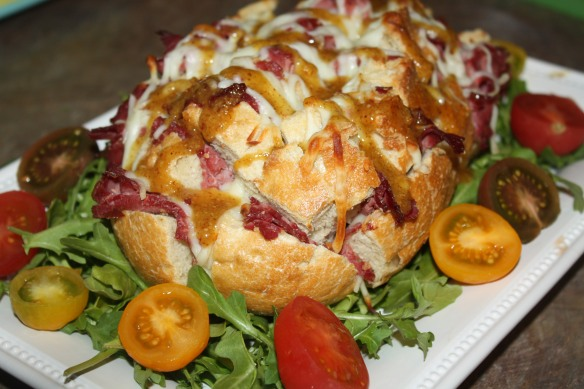 Football Shaped Pull Bread with Corn Beef Recipe