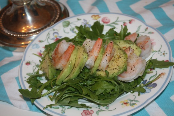 NYE Shrimp, Avocado, and Arugula Salad