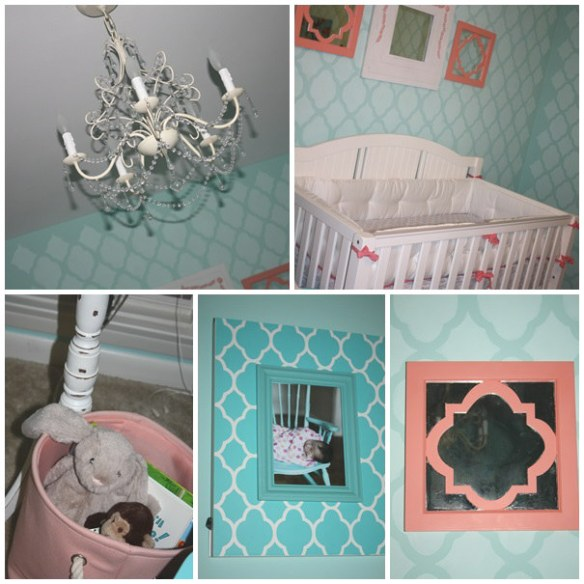 coral & robin's egg blue nursery