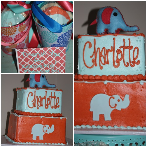 Elephants, coral, & robin's egg blue first birthday party