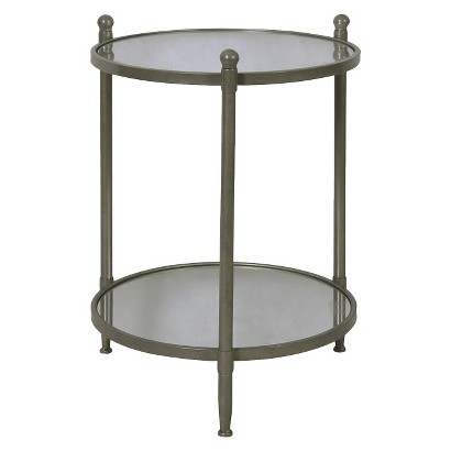 Two Tier Round Mirrored Table