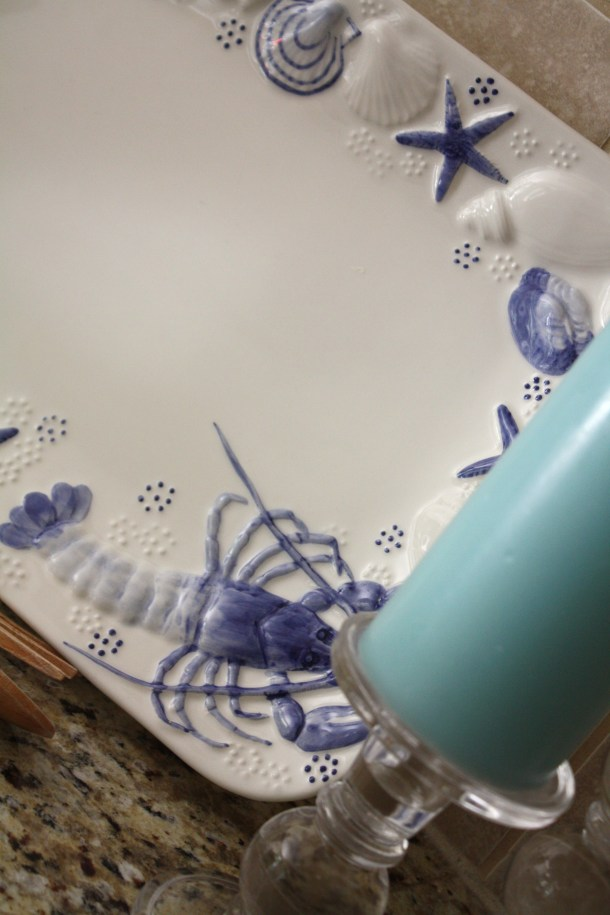 Blue & white serving tray