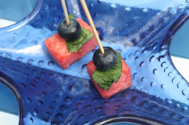 Watermelon, Mint & Blueberry skewers