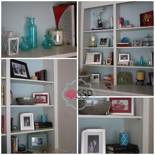 Blue and white bash Family Room Sneak Peek